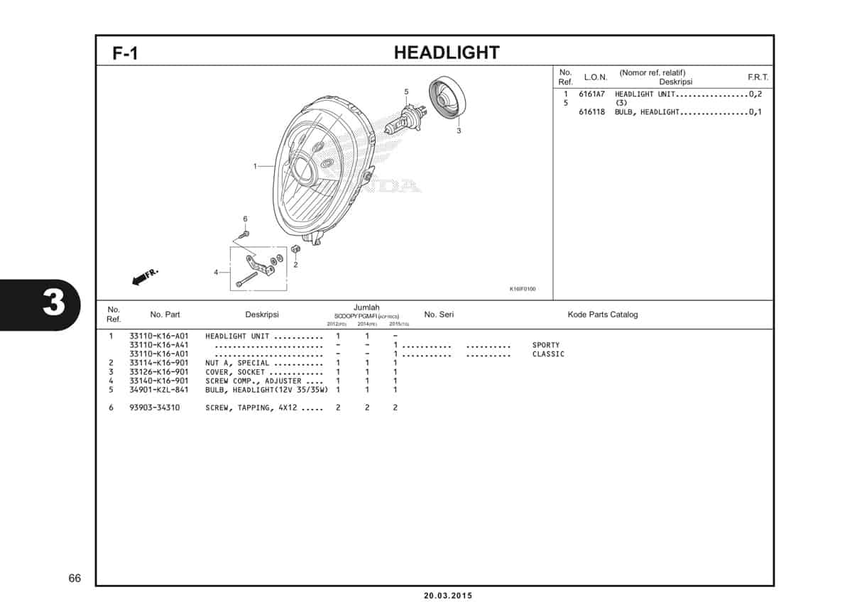 F-1 Headlight Katalog Scoopy eSP K16