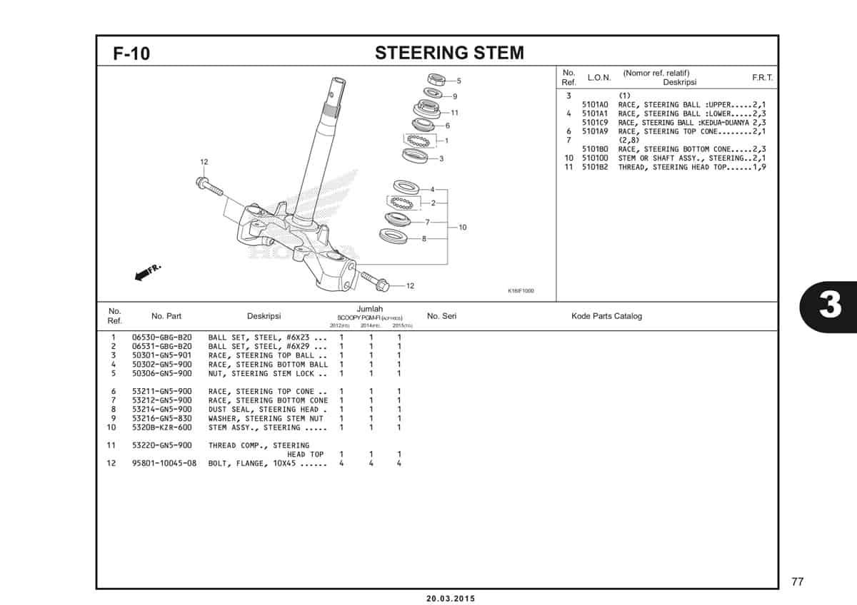 F-10 Steering Stem Katalog Scoopy eSP K16