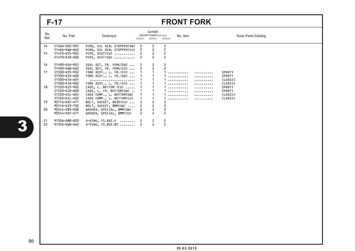 F-17 Front Fork Katalog Scoopy eSP K16