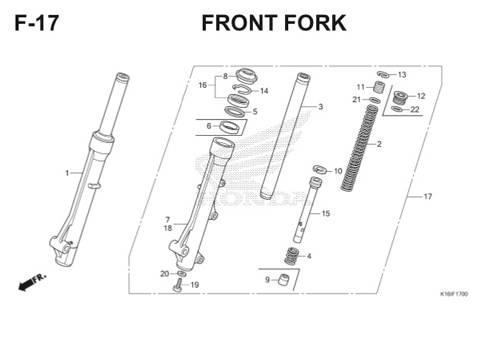 F17 – Front Fork – Katalog Honda Scoopy eSP K16