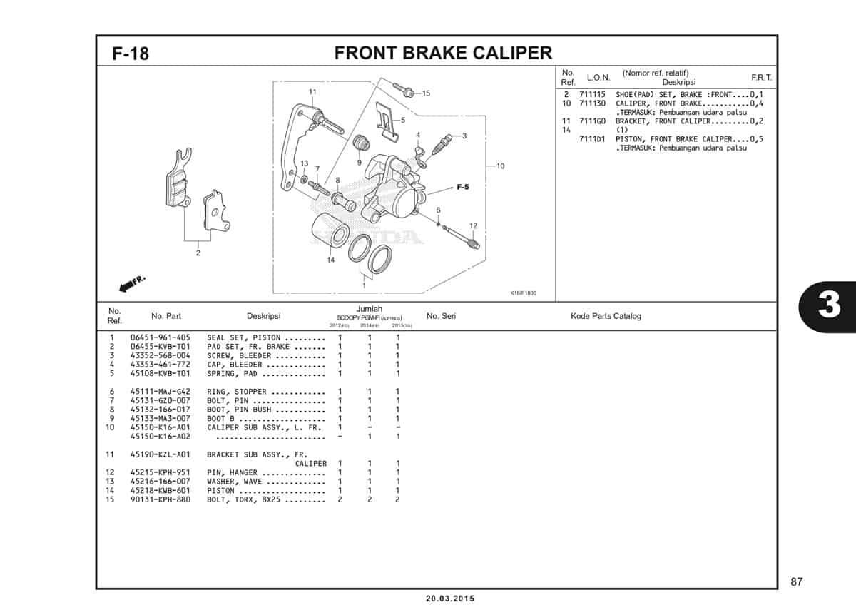 F-18 Front Brake Caliper Katalog Scoopy eSP K16