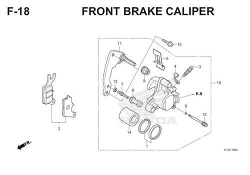 F18 – Front Brake Caliper – Katalog Honda Scoopy eSP K16