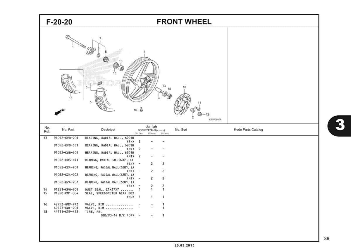F-20-20 Front Wheel Katalog Scoopy eSP K16
