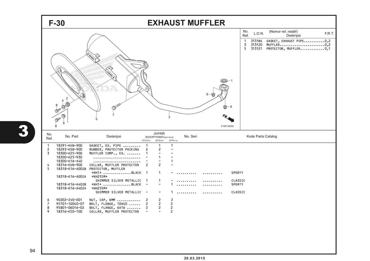 F-30 Exhaust Muffler Katalog Scoopy eSP K16