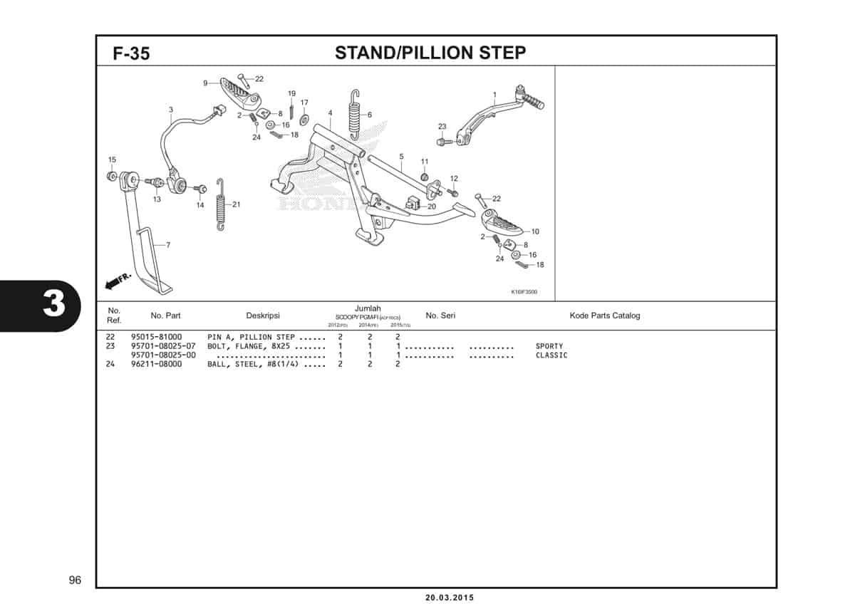 F-35 Stand/Pillion Step Katalog Scoopy eSP K16