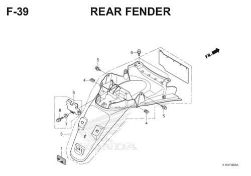 F39 – Rear Fender – Katalog Honda Scoopy eSP K16