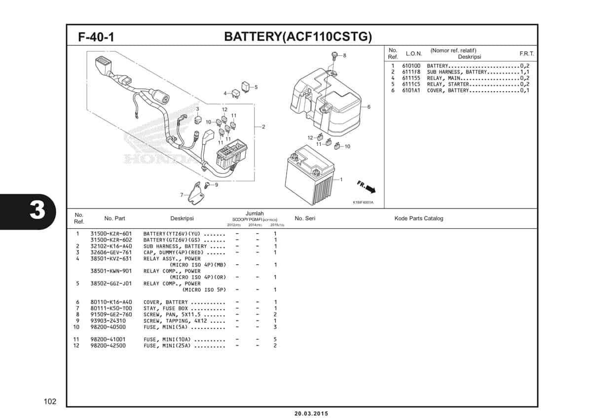 F-40-1 Battery (ACF110CSTG) Katalog Scoopy eSP K16