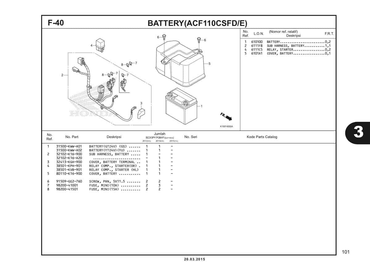 F-40 Battery (ACF110CSFD/E) Katalog Scoopy eSP K16