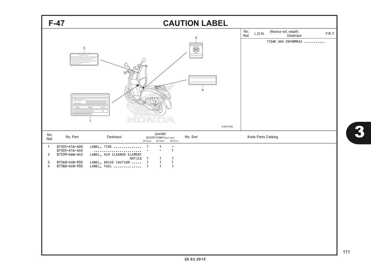 F-47 Caution Label Katalog Scoopy eSP K16