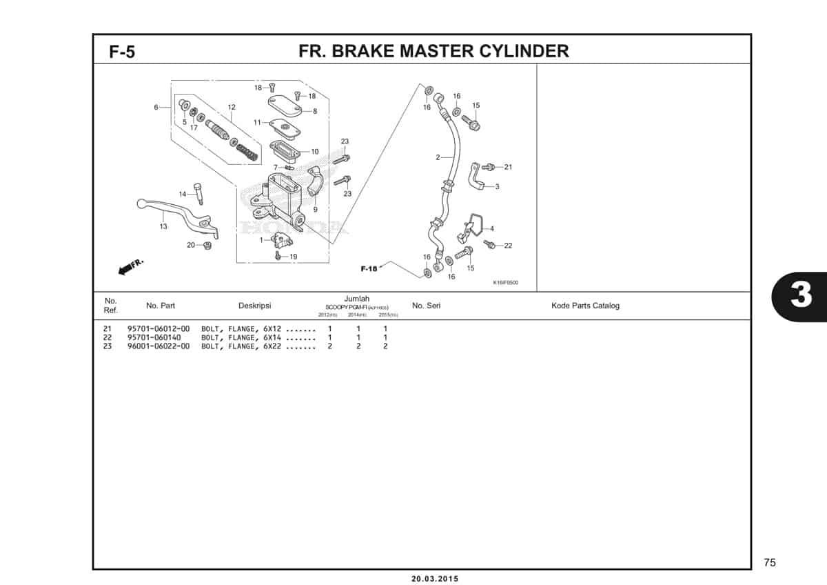 F-5 FR.Brake Master Cylinder Katalog Scoopy eSP K16