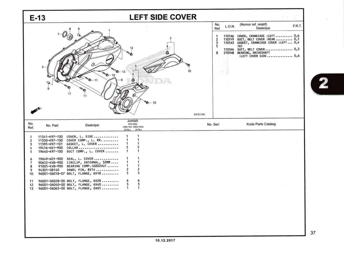 E-13-Left-Side-Cover-Katalog-Pcx-150-K97
