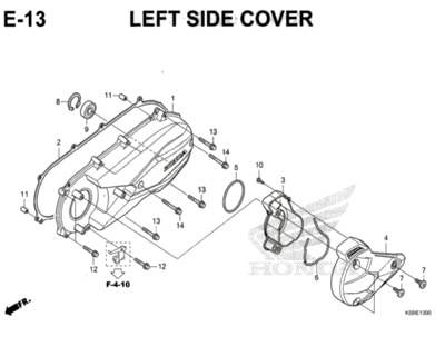 E13 – Left Side Cover – Katalog Honda New Vario 150 K59J