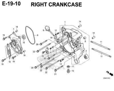 E19-10 – Right Crankcase – Katalog Honda New Vario 150 K59J