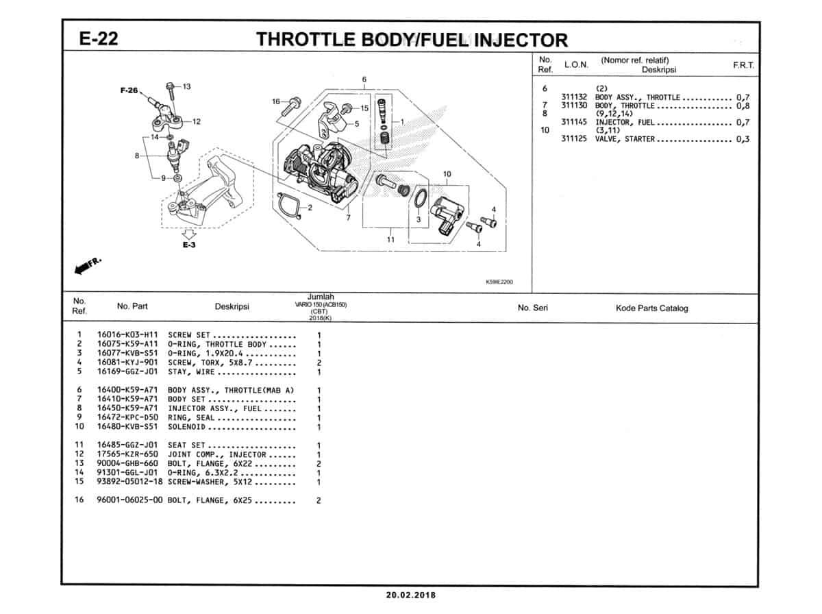 E-22-Throttle-Body-Fuel-Injector-Katalog-New-Vario-150-K59J
