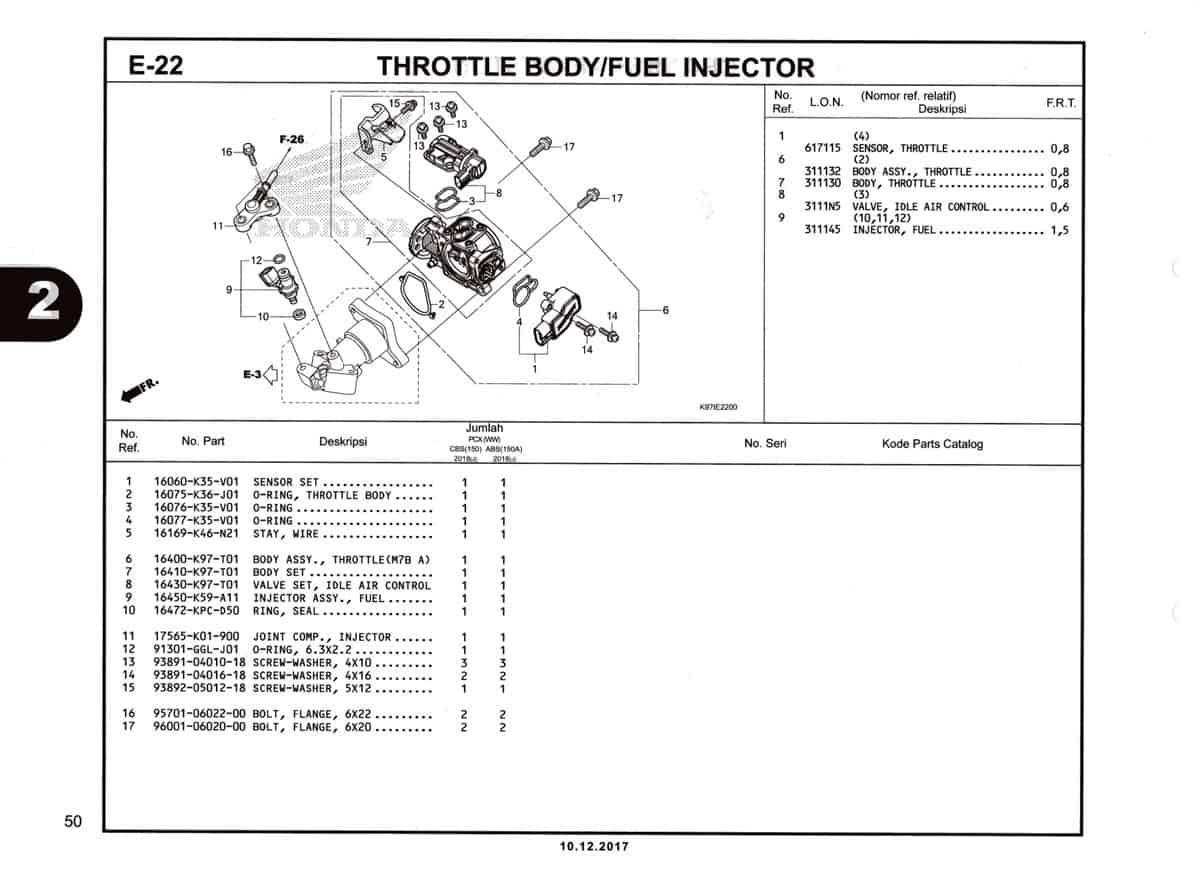 E-22-Throttle-Body-Fuel-Injector-Katalog-Pcx-150-K97