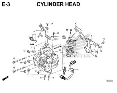 E3 – Cylinder Head – Katalog Honda New Vario 150 K59J