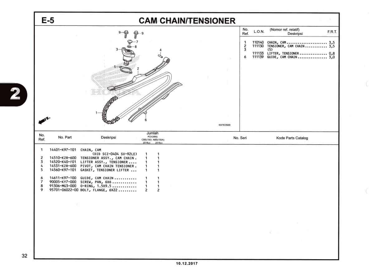 E-5-Cam-Chain-Tensioner-Katalog-Pcx-150-K97
