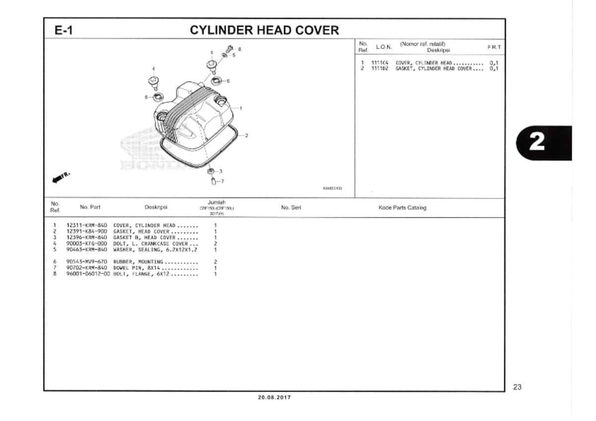 E1-Cylinder-Head-Cover-Katalog-Honda-Crf-150L
