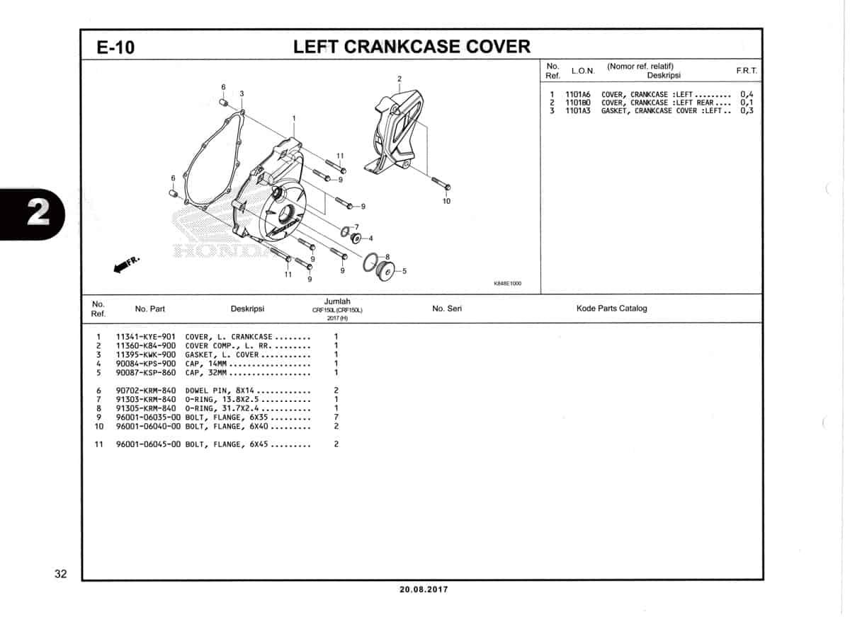 E10-Left-Crankcase-cover-Katalog-Honda-Crf-150L