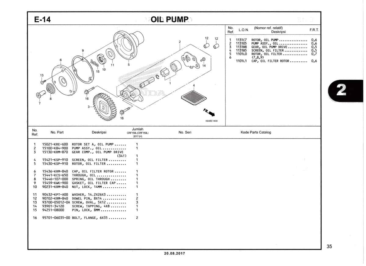 E14-Oil-Pump-Katalog-Honda-Crf-150L