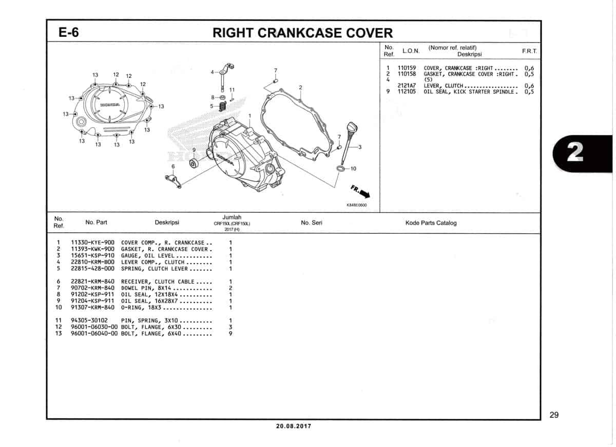 E6-Right-Crankcase-Cover-Katalog-Honda-Crf-150L