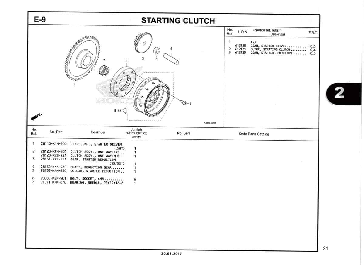 E9-Starting-Clutch-Katalog-Honda-Crf-150L