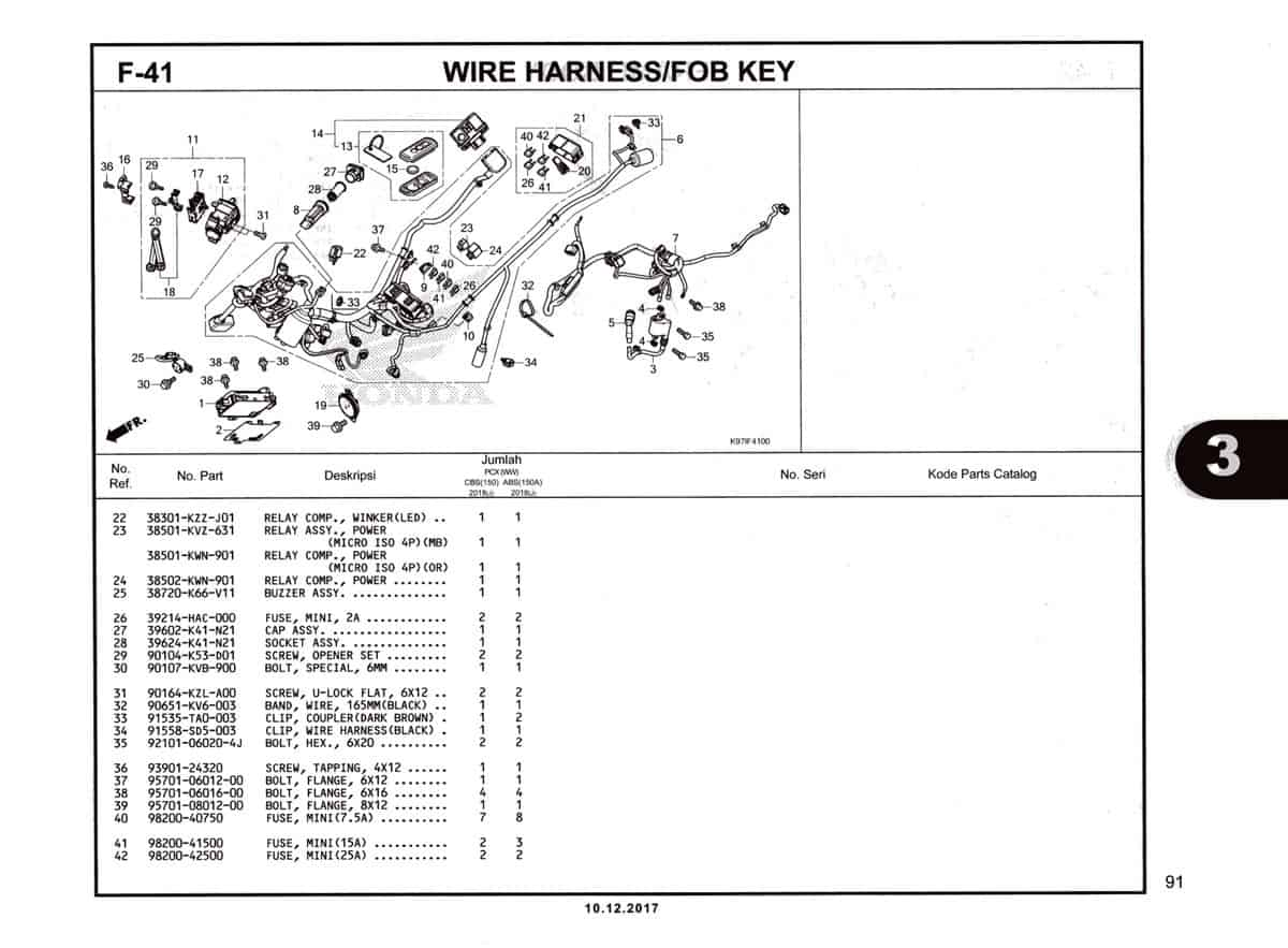 F-41 Wire-Harness-Fob-Key-Katalog-Pcx-150-K97