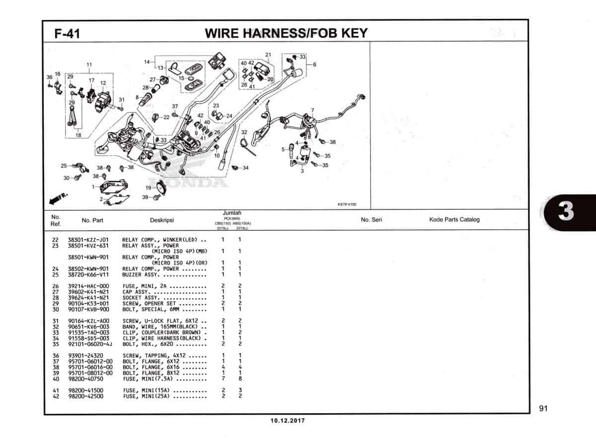 F-41 Wire-Harness-Fob-Key-Katalog-Pcx-150-K97