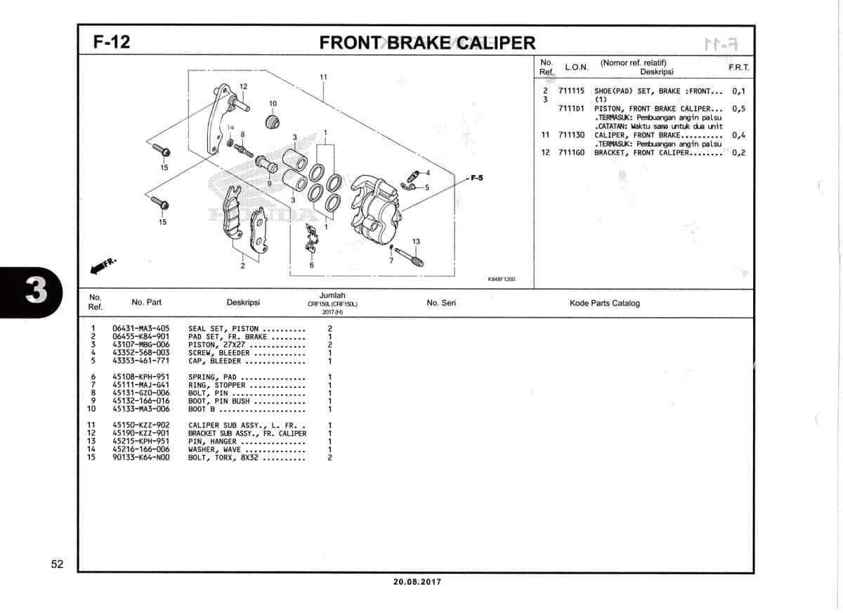 F12-Caliper Rem-Depan-Katalog-Honda-Crf-150L
