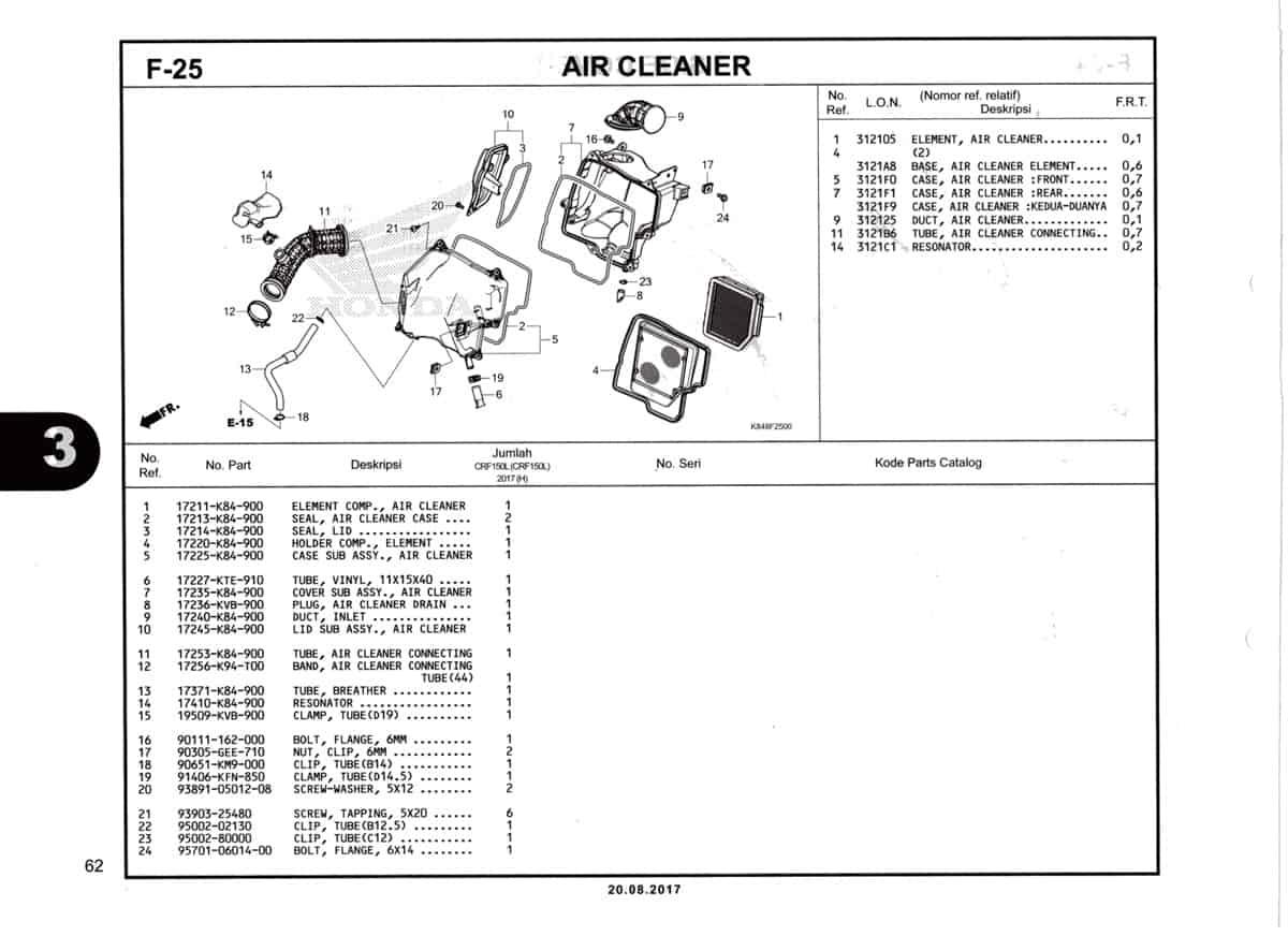 F25-Air-Cleaner-Katalog-Honda-Crf-150L