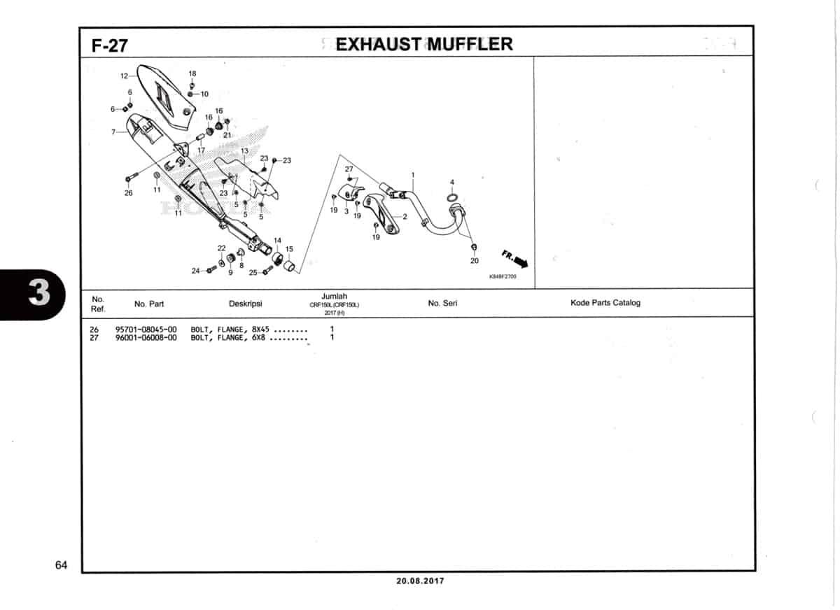 F27-Exhaust-Muffler-Katalog-Honda-Crf-150L