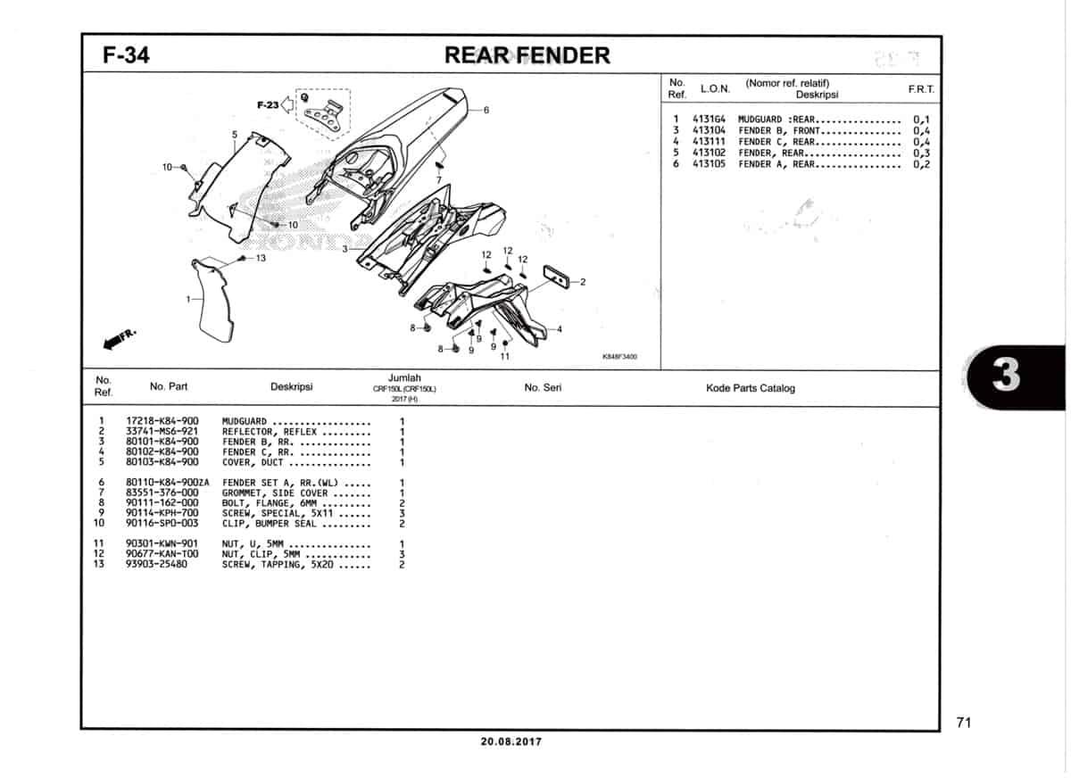 F34-Rear-Fender-Katalog-Honda-Crf-150L