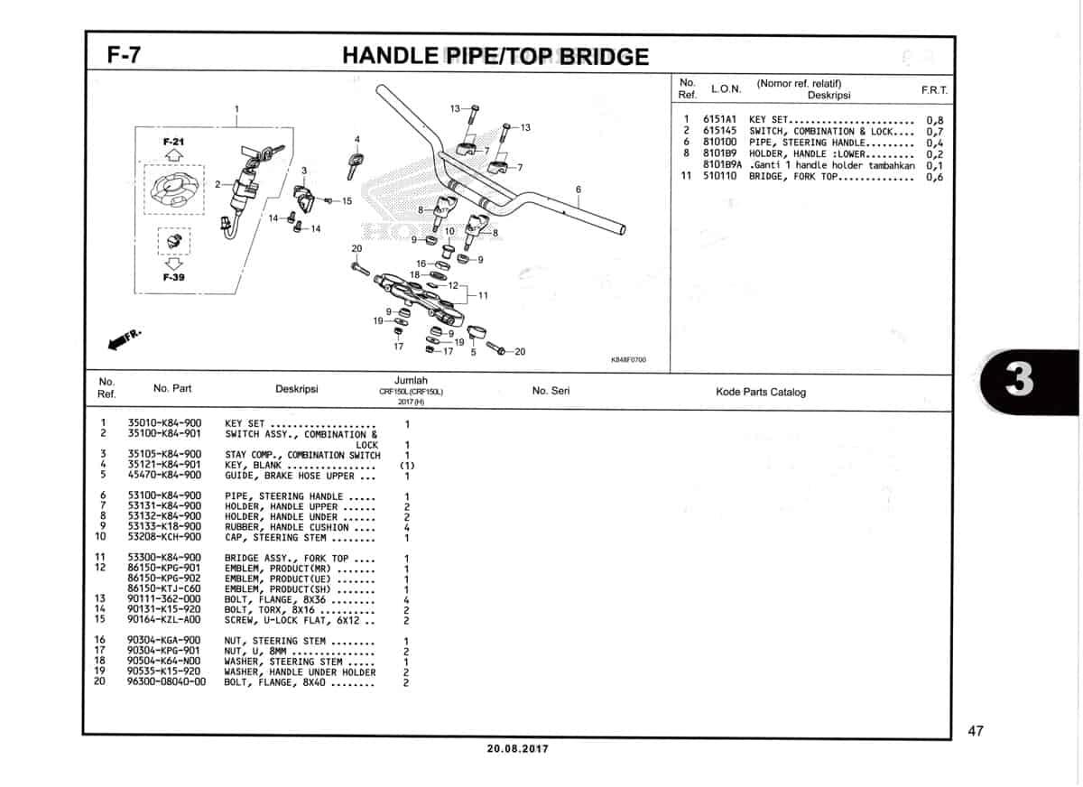 F7-Handle-Pipe-Top-Bridge-Katalog-Honda-Crf-150L