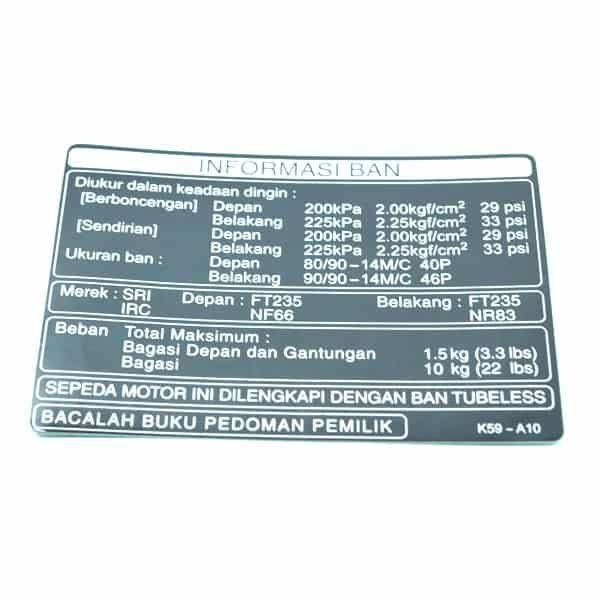 Label, Tire (Indonesia) 87505K59A10