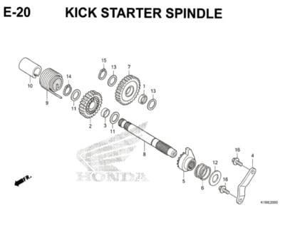 E20 – Kick Starter Spindle – Katalog Honda CB150 Verza