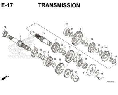 E17 – Transmission – Katalog Honda CB150 Verza