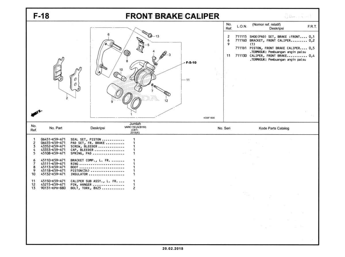 F-18-Front-Brake-Caliper-Katalog-New-Vario-150-K59J