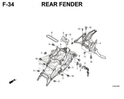 F34 – Rear Fender – Katalog Honda CB150 Verza