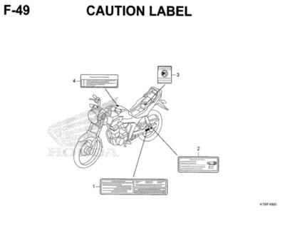 F49 – Caution Label – Katalog Honda CB150 Verza