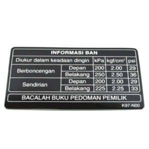 Label, Tire 87505K97N00