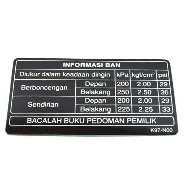 Label, Tire 87505K97N00