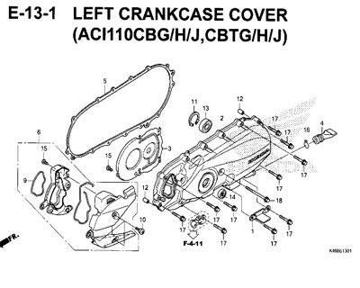 E13-1 – Left Crankcase Cover (ACI110CBG/H/J,CBTG/H/J) – Katalog Honda New Vario 110