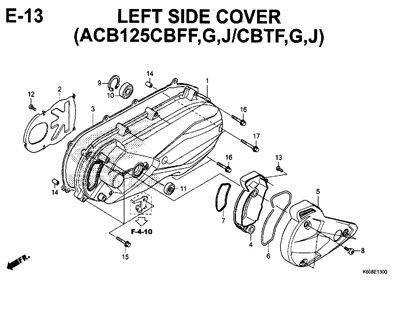 E13 – Left Side Cover (ACB125CBFF,G,J/CBTF,G,J) – Katalog Honda New Vario 125 K60R