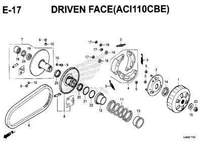 E17 – Driven Face (ACI110CBE) – Katalog Honda New Vario 110
