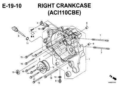 E19-10 – Right Crankcase (ACI110CBE) – Katalog Honda New Vario 110