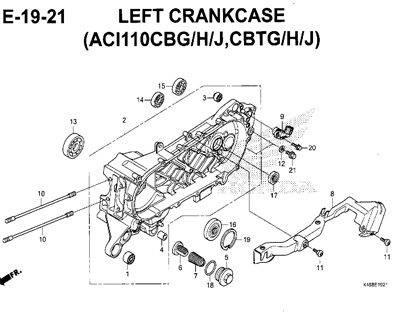 E19-21 – Left Crankcase (ACI110CBG/H/J,CBTG/H/J) – Katalog Honda New Vario 110