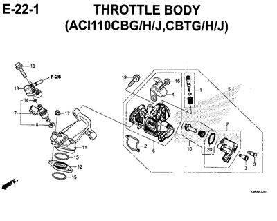 E22-1 – Throttle Body (ACI110CBG/H/J,CBTG/H/J) – Katalog Honda New Vario 110
