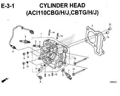 E3-1 – Cylinder Head (ACI110CBG/H/J,CBTG/H/J) – Katalog Honda New Vario 110