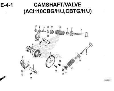 E4-1 – Camshaft/Valve (ACI110CBG/H/J,CBTG/H/J) – Katalog Honda New Vario 110