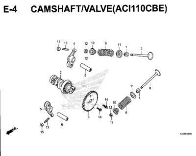 E4 – Camshaft/Valve (ACI110CBE) – Katalog Honda New Vario 110